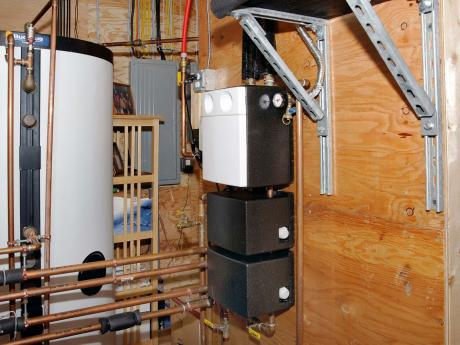 ROSE Cottage Project - Mechanical Room - Solar Thermal Systems: Tank, Circulation Pump & Controls, Diverter Valves